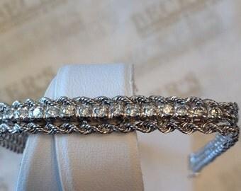 "Vintage 14k white gold 14 Diamond Triple Rope Strand Bracelet .35 tw GH-SI1,2,I1, 6.75"""