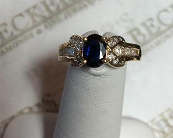Vintage 14k yellow gold Oval Blue Sapphire & 14 Diamond X Ribbon Top Ring 1.34 tw I-I1,2 Size 6