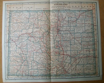 "Vintage 1925 Map of Colorado - 9"" x 11"""
