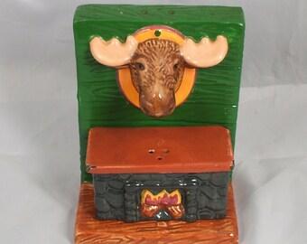 Vintage Clay Art Stovetop Fireplace and Moose Salt & Pepper Shaker Set