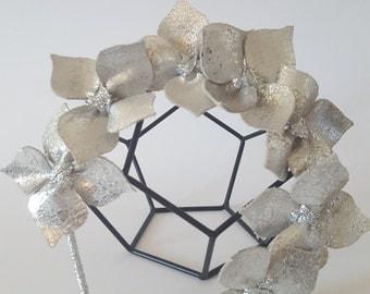 Silver Leather Crown,Headband, Leather Flower Headpiece, Wedding Fascinator