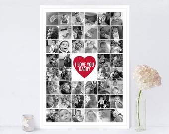 Photo Collage Print Supersize 48 B&W / Father's Day Gift / Instagram Collage Print / Father's Day Present / Black and White Print