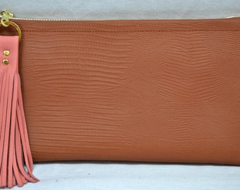 Handmade Cinnamon Lizard-Embossed Leather Clutch with Peach Leather Tassel