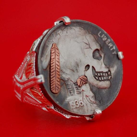 Buffalo Nickel Skull Ring