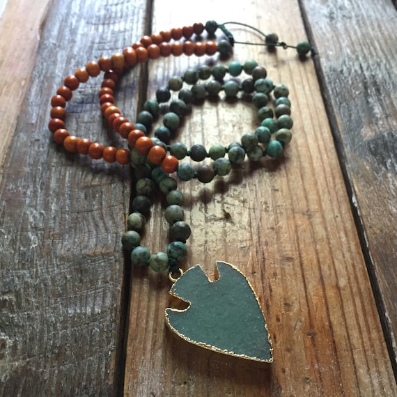 108 Bead Partially Handknotted Matte African Turquoise, Natural Redwood + Electroplated Aventurine Arrowhead Spiritual Junkies Mini Mala