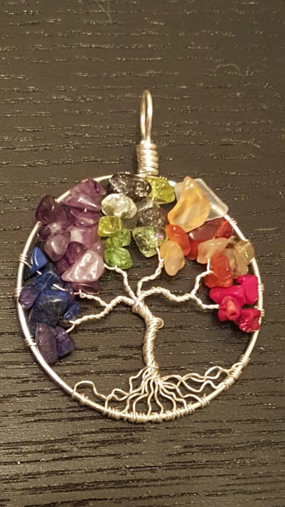 Rainbow Pride Wire-Wrapped Tree of Life Pendant