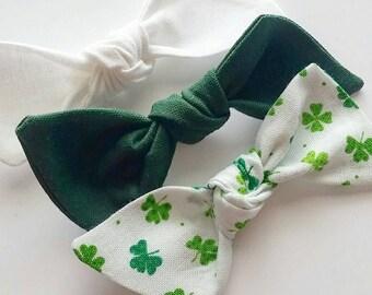 Baby bows {Paddy} Bitsy knot bow set, nylon headbands, hair clips