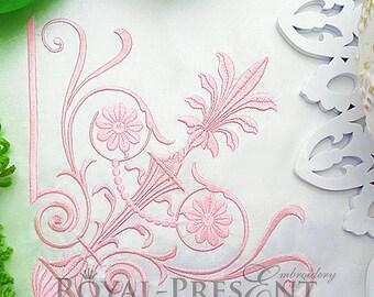 Machine Embroidery Design Classic corner decor - 3 sizes