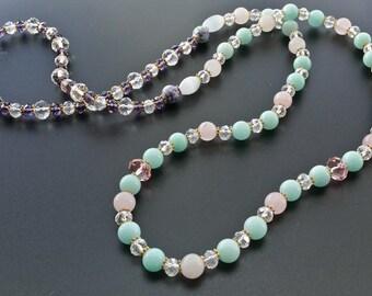 Long Crystal, Natural Rose Quartz Natural Amazon Jade Beaded Necklace