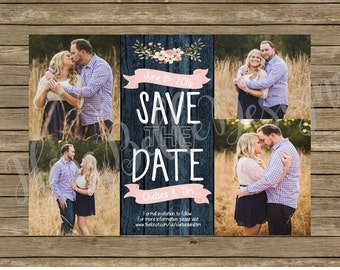 Rustic Floral Save the Date // Navy & Pink Save the Date // Wedding Save the Date // Floral Save the Date // Printable // Download // DIY