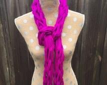 Arm Knit Scarf, Arm Knitting Scarf, Magenta Scarf, Long Scarf, Bright Scarf, Bright Pink Scarf, Sashay Scarf, gift for women, sashay yarn