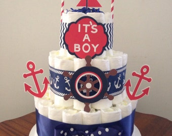 Diaper cake, Baby shower diaper cake, Nautical theme baby shower, Nautical diaper cake, Boat diaper cake, Sailboat diaper cake,