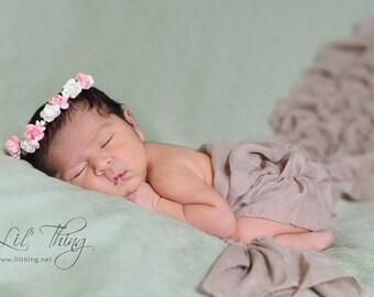 Flower crown, newborn flower crown, flower girl halo, flower headband, wedding crown