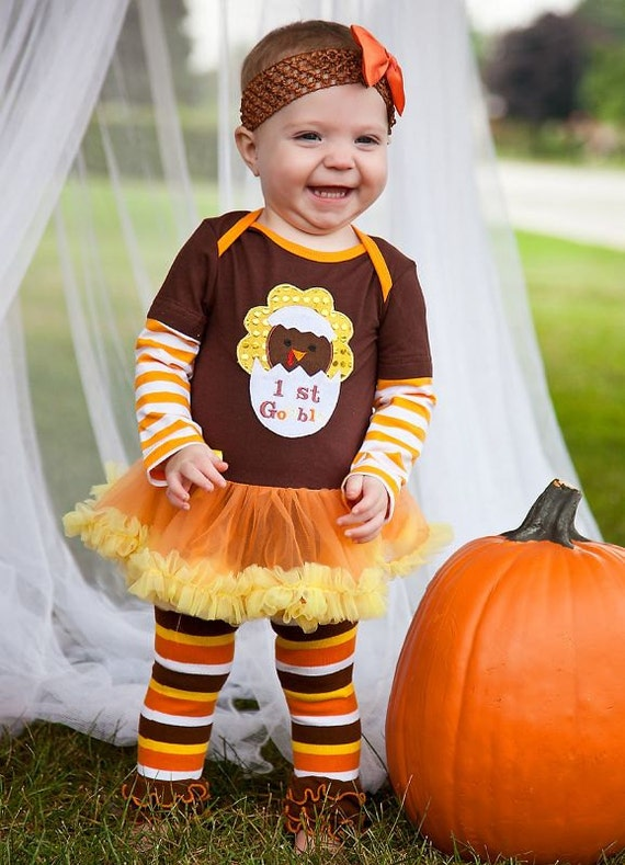 Baby Girls Gobble Thanksgiving Bodysuit Romper Pettiskirt