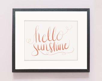 Hello Sunshine Print (Hand Lettered)