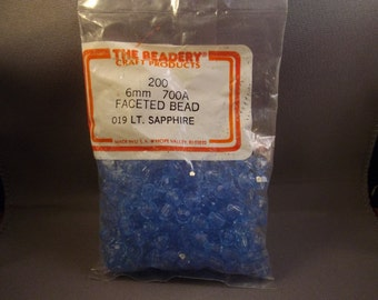 Light Sapphire Blue 6mm Faceted Craft Beads, The Beadery, vintage, 200 count