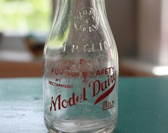 Glass Milk Bottle - One Pint Milk Bottle -Model Dairy Pint Glass Bottle - 1 Pint Milk Bottle, Massachusetts Antiques