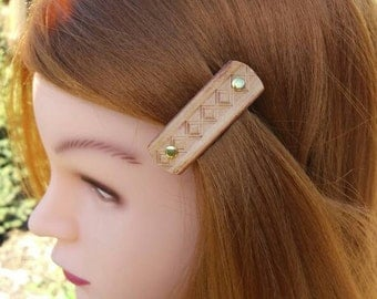 Handmade Leather French hair clip  barrette, Tooled Leather Hair Clip, women Hair Accessory, beige hair fashion, leather accessory