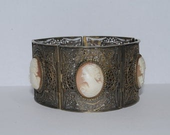 Silver and Gold Gilt Carnelian Shell Cameo Filigree Bracelet
