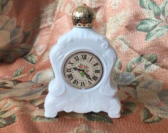 Vintage Clock Perfume Bottle - Avon Brocade Foaming Bath Oil Decanter -  Perfume Vanity Bathtub Bottle
