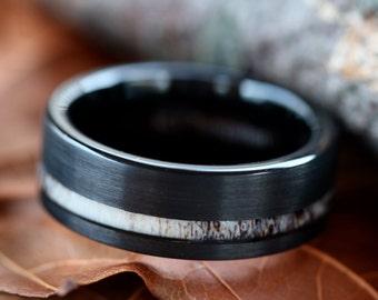 Custom Engraved Black Tungsten Deer Antler Ring - Mens Band Womens Wedding Ring Tungsten Hunter Band - FREE Engraving