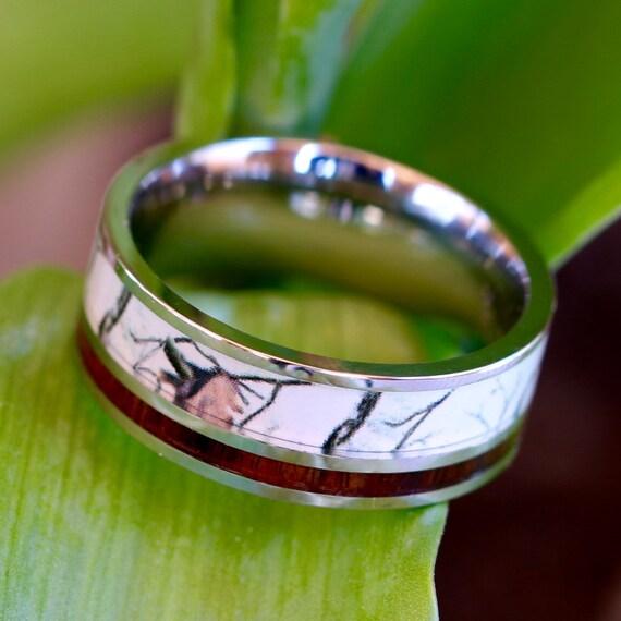 white camo ring with koa wood inlay unisex
