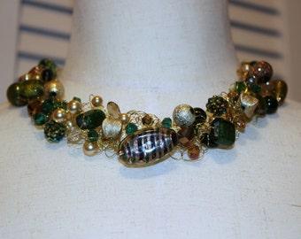 Crochet WireNecklace, Crochet jewelry, Wire Crochet, Crochet Wire, Wire Jewelry, Crochet Necklace, Beaded Necklace, Crochet BeadNecklace