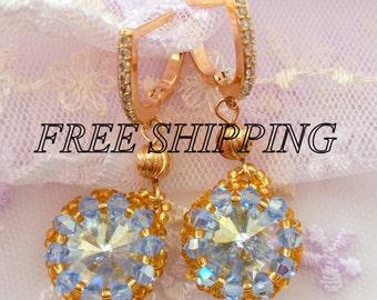 Swarovski crystal earrings, Chandelier  earrings, Gold Ffilled swarovski earrings,Blue swarovski crystal
