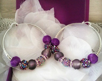 Basketball Wives Earrings- Sterling silver hoops earrings-purple basketball wives hoops earrings