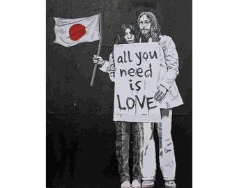 BANKSY Canvas All You Need Is Love John Yoko by Banksy Wall Art Print Gallery Wrapped