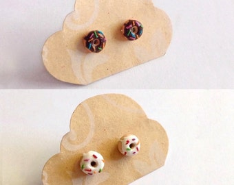 Miniature Donut Earrings - available in two colours.