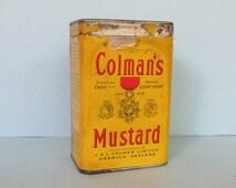 "Vintage Colman's Mustard Tin, paper label/ 1960's Bull's Head, Double Superfine (warranted pure) 4 oz Mustard tin/  3 3/4"" H X 1 1/2"" W"