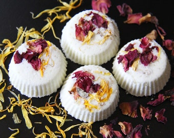 Rosemary + Lime Mini Bath Bombs | Rose Petals + Calendula | All Natural Bath Bombs | Vegan Bath Bombs | Organic Bath Bombs