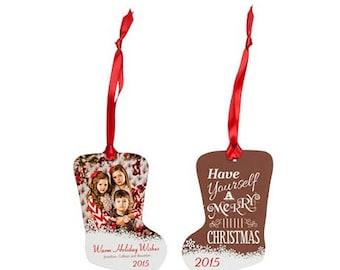 Personlaize Metal Ornament (Custom Photo), Apex Ball Circle Bell Classic Posh Snowflake Stocking Tapered and Christmas Tree Ornament Shape