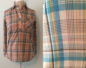 Vtg 70's plaid blouse / tan blue yellow / small