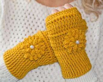 Mustard fingerless gloves, fingerless mittens, crochet gloves, knitted gloves, womens gloves, winter gloves, flower gloves, hand warmers