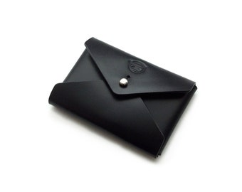 Leather Envelope Wallet, Card Wallet, Coin Purse, Coin Pouch, Minimalist, Simple, Modern, Handmade, Black.