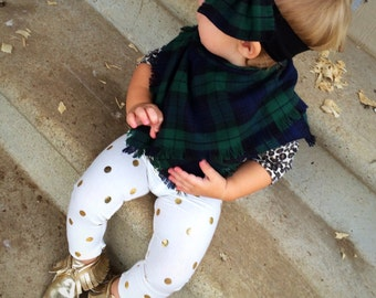 Little girls gold polka dot leggings, gold leggings, polka dot leggings, Girls leggings, baby leggings, handmade leggings