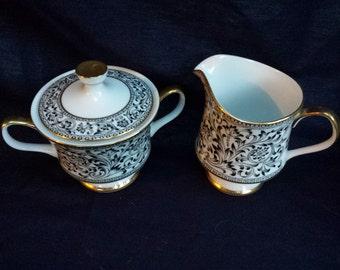 Sango Spanish Lace Fine China Creamer and Lidded Sugar Bowl Set