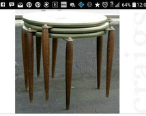 Set of three Mid Century Modern Formica Nesting Tables with Tempered Legs