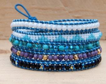 Mountains - wrap bracelet, amethyst, tyrkenite, chan luu style
