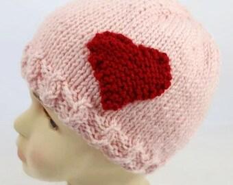 BABY GIRL HAT - Valentine Baby Hat - Valentine Hats - Baby Hat with Heart - Heart Hat - Valentines Day - Valentines Gift - Baby Photo Prop