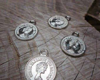 Coin Charm Pendant Charms ~4 pieces #100261