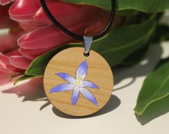 Flower Pendant Necklace-Australian Wildflower Pendant Necklace-Painted Pendant-Flower Necklace Pendant-Painted Flower Pendant-Aussie Flora