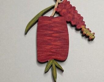 Flower Hair Clip-Flower Hairclip-Handpainted Flower Clip-Wood Hair Clip-Flower Barrette-Australian Wildflower-Bottlebrush