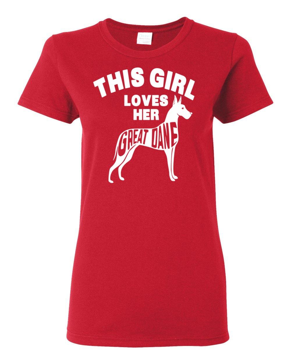 Great Dane T-shirt - This Girl Loves Her Great Dane - My Dog Great Dane Womens T-shirt