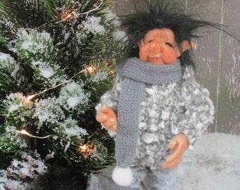 Chau - posable OOAK art doll - troll-Pixie