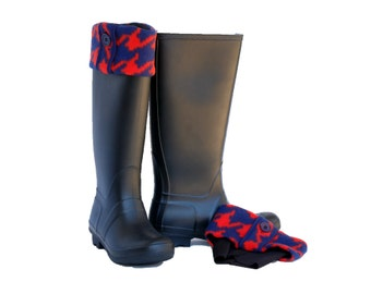 Blue-Orange Houndstooth Brimmins® for Tall Boots