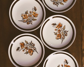 Set of 5 Small Vintage Floral Plates