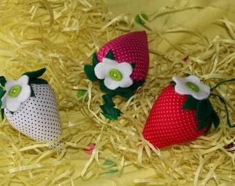 3 fabric strawberries